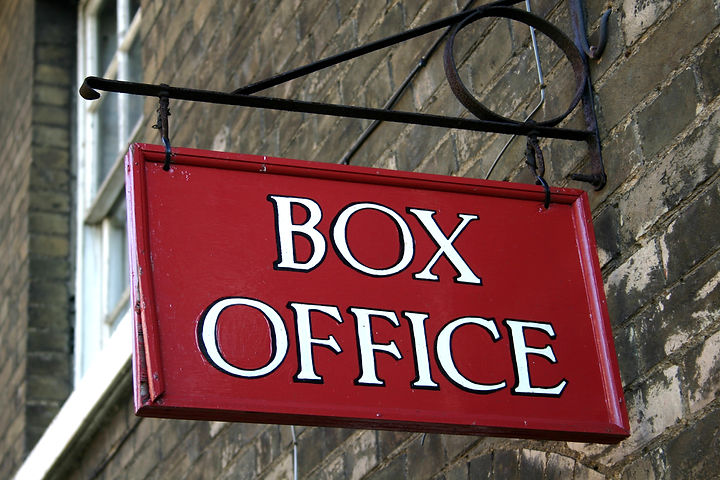 Close up of a red painted box office sig