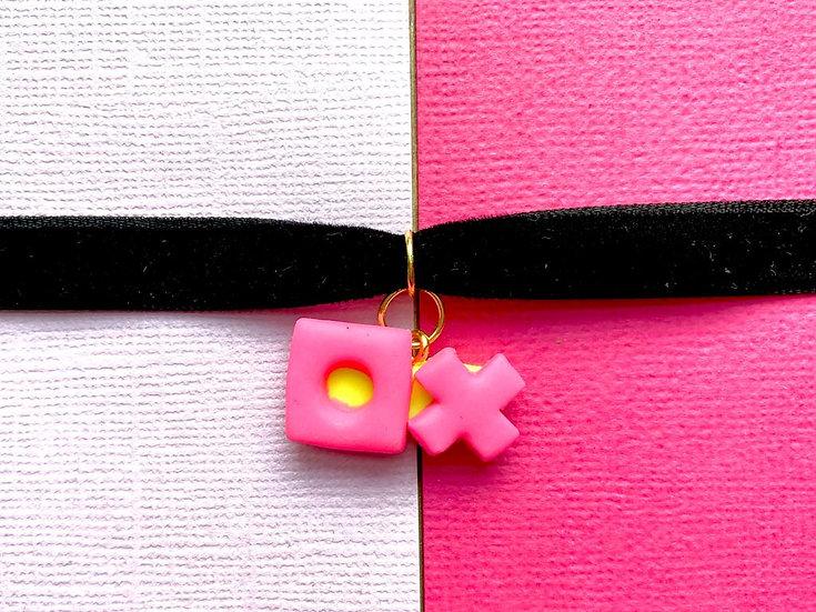Velvet Choker -Bubblegum Pink