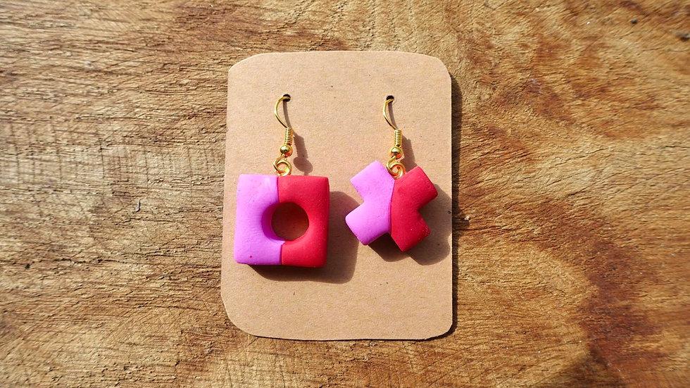 Pink Red Splits Quearrings