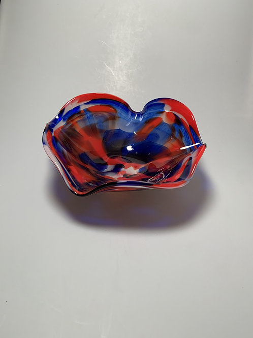 Red, White, Blue Wavy Bowl