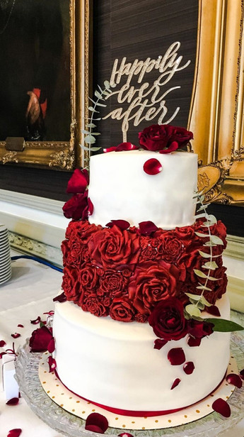 Bass Relief Rose Wedding Cake