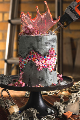 Concrete Cake with Construction Theme