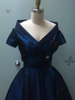 Blue Dress and Jacket on Form Close Up_e