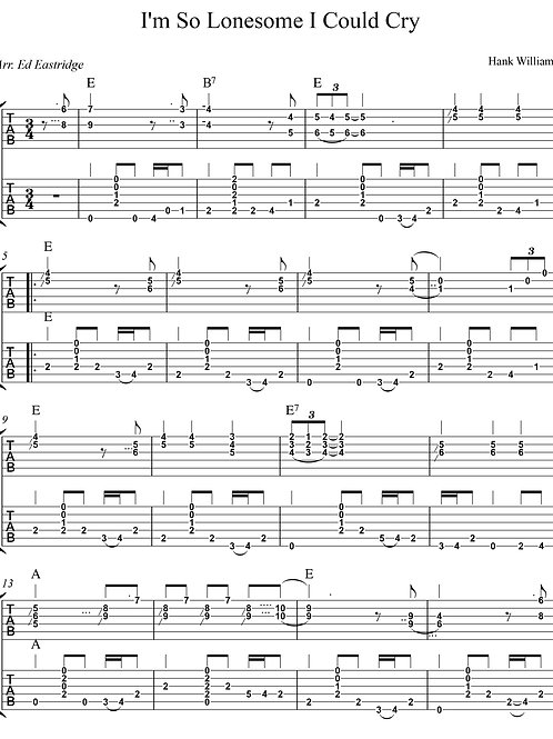 I'm So Lonesome I Could Cry - Hank Williams (Guitar Duo Tabs)