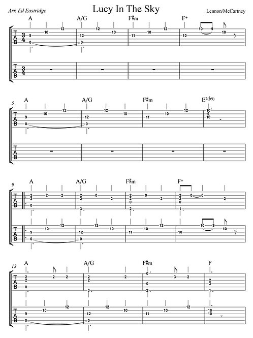 Lucy In the Sky With Diamonds (guitar duo tab)