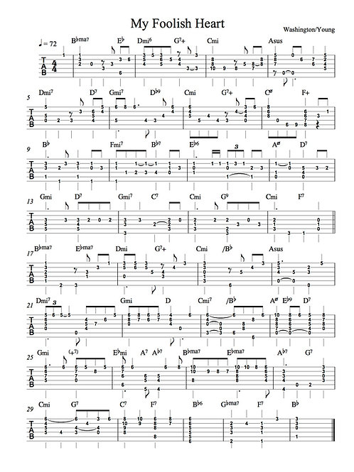 My Foolish Heart tab for solo guitar
