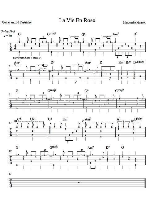 La Vie En Rose - East Guitar Tab