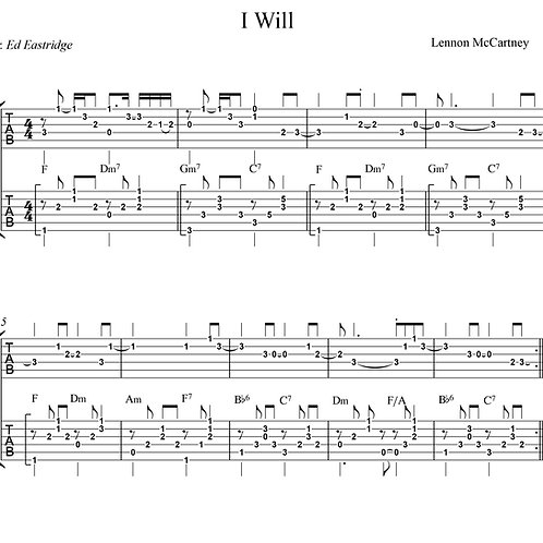 I Will- The Beatles - Guitar Tab