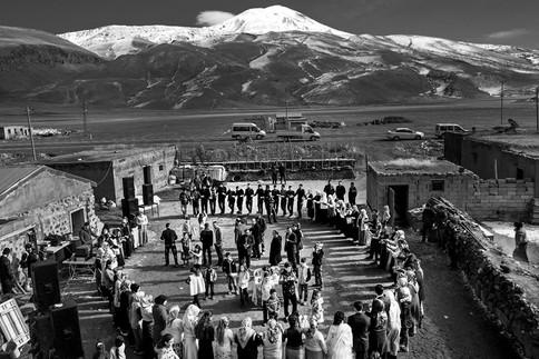 Kurdish Wedding Govend, a traditional Kurdish dance celebrated in a village at the foot of Mount Ararat. Iğdır, Turkey 2016
