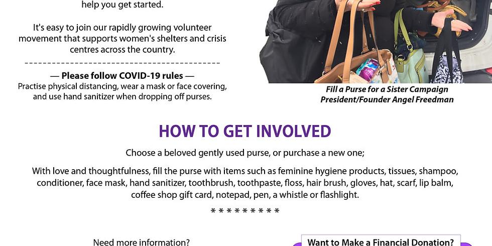 Fill a Purse For a Sister Campaign: Sept 1-Dec 1