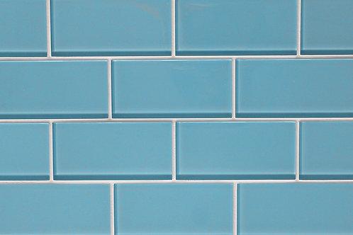 "3x6"" metro bianco blue subway glass mosaic tile GO700"