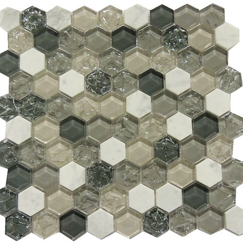 Ice crakcle Glass Metal Mosaic Tile G02