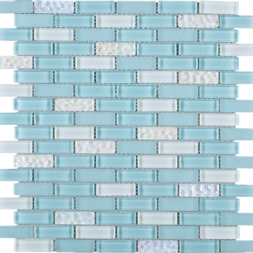 BCD-07 Baby blue brick glass mosaic tile