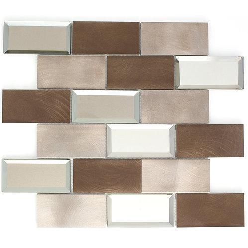 AFM-01 2x4 Subway Tile Brick Bronze Metal Mosaic Tile Sheet