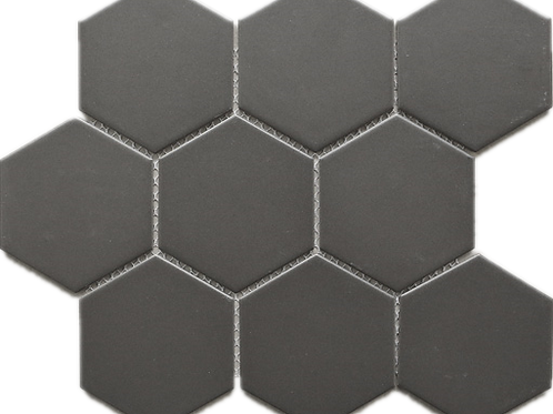 BT-PM04 M size Hexagon Grey Black porcelain Mosaic (Matt)