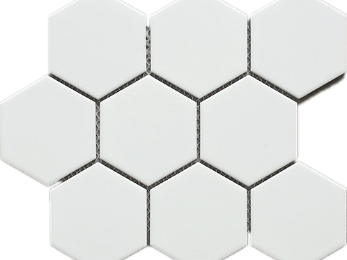 BT-PM03 M Size Hexagon white mosaic (Matt)