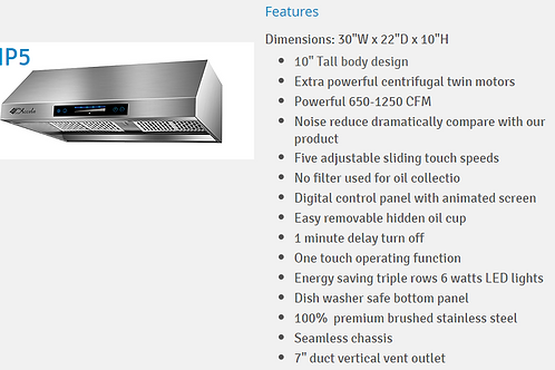 Wall-Mounted Range Hood With Stainless Steel Touch Panel EHP5