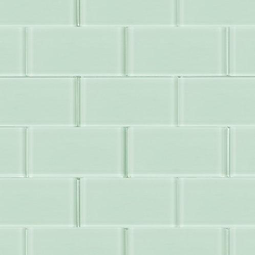 """3x6"""" metro bianco  green subway glass mosaic tile  G0600"""