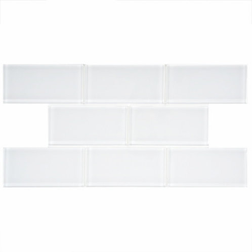 "3x6"" metro bianco clear subway glass mosaic tile GO800"