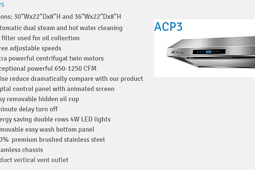 Wall-Mounted Range Hood With Stainless Steel Touch Panel ACP03