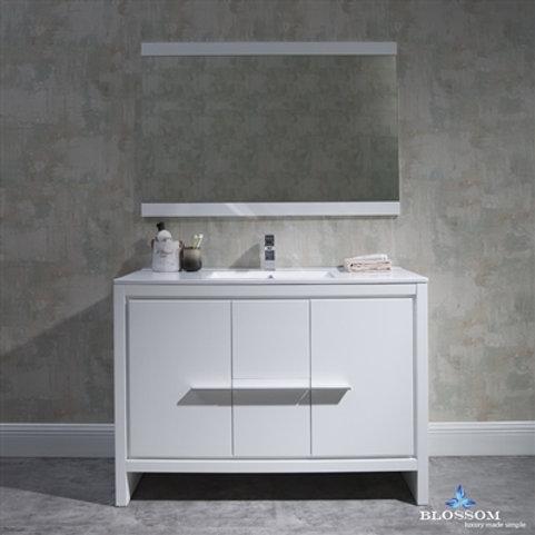 "Blossom Milan 48"" Glossy White Vanity - Single Basin - Mirror"