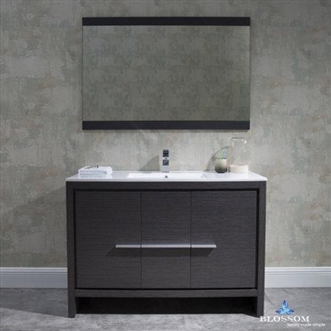 "Blossom Milan 48"" Silver Grey Vanity - Single Basin - Mirror"