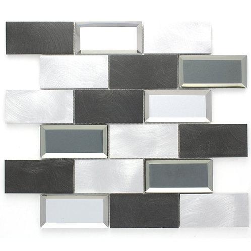 AFM-02 2x4 Subway Tile Brick Grey Metal Mosaic Tile Sheet