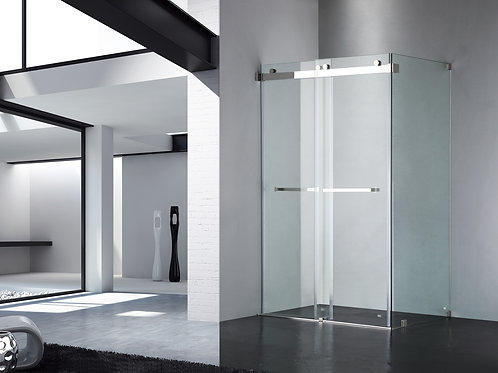 "Luxe Frameless Sliding Shower Door, Fits 48""-60"". Opening, Clear Glass UPC01"
