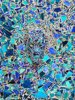 Pop eye visage mosaïque bleu
