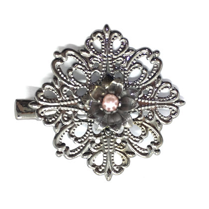 Clip Silver/Rose Flower