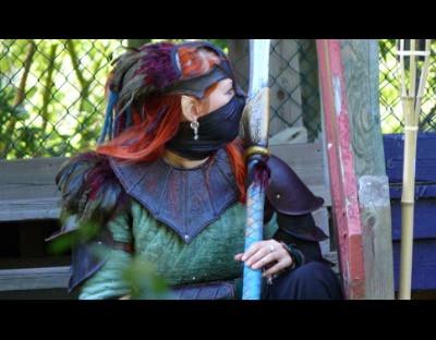 Billede fra mine gamle rollespilsdage. Dette er en warhammer elver- Jeg har lavet både rustningen og spyddet.