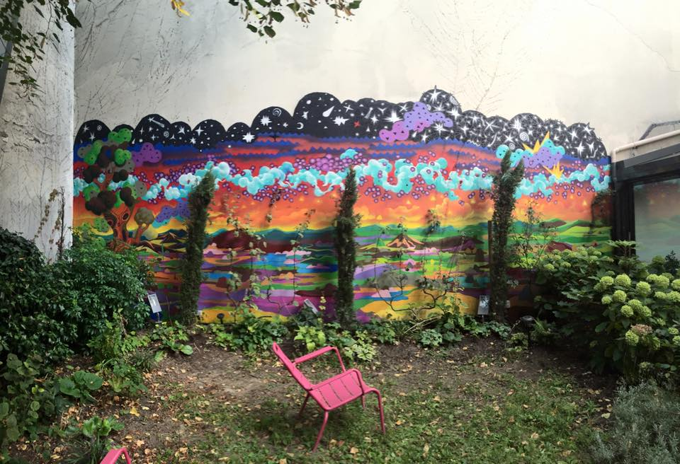 Popay fresque jardin intérieur