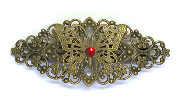 Hair Clip Red Butterfly
