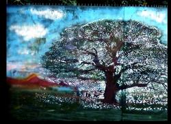 Artiste Ouvrier arbre fresque