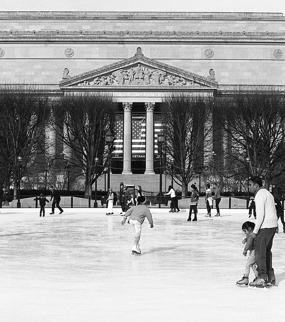 Girl ice skating in Washington, DC.