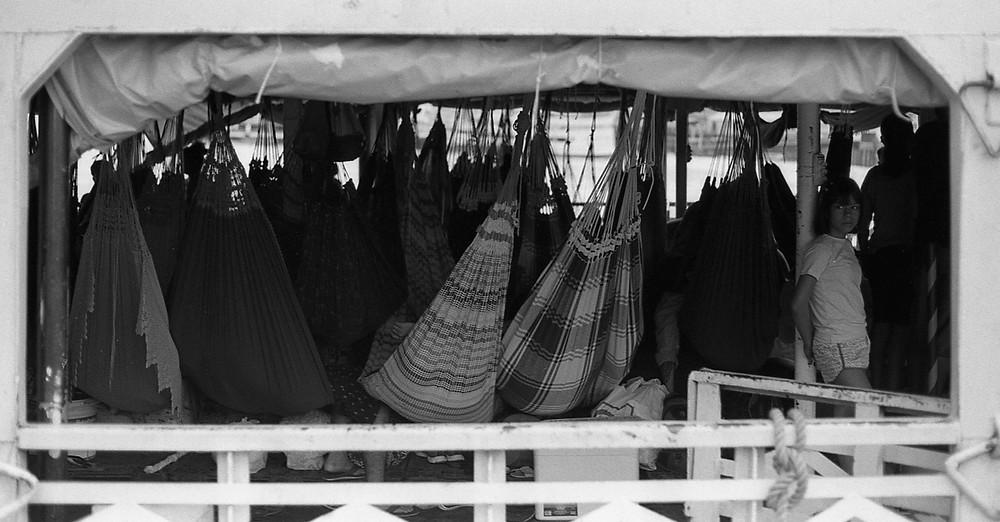 Hammocks on a boat. Porto de Manaus, Brasil