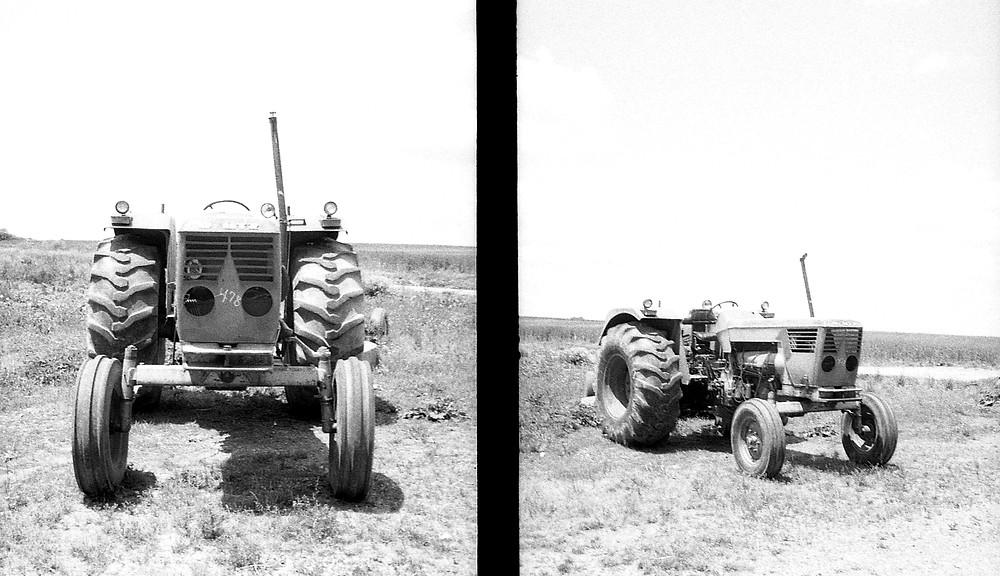 Tractors on half-frame camera.