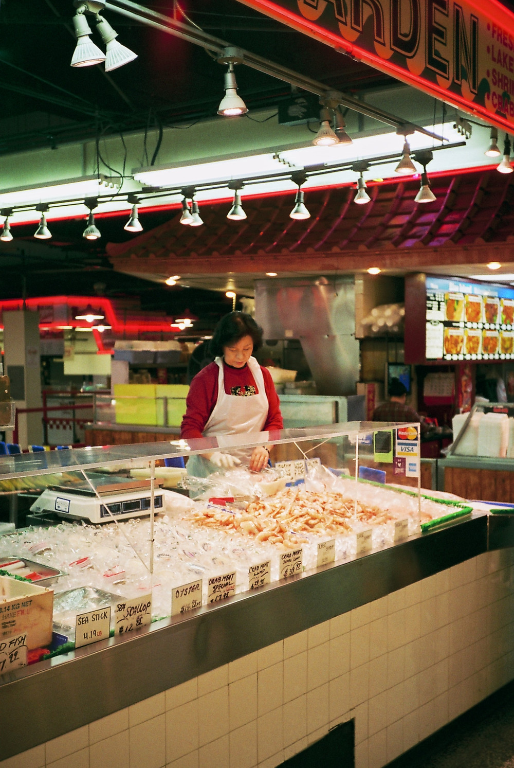 Seafood vendor at Lexington Market in Baltimore, Maryland