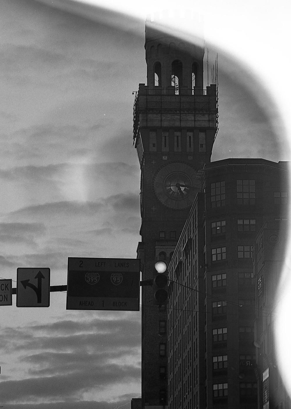 Light leak at Bromo-Seltzer Tower in Baltimore, Maryland
