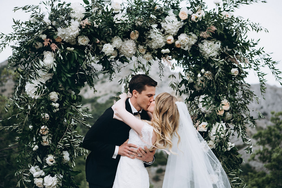 Amazing wedding couple near wedding arch