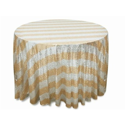 Striped Sequin Table Cloth - Round