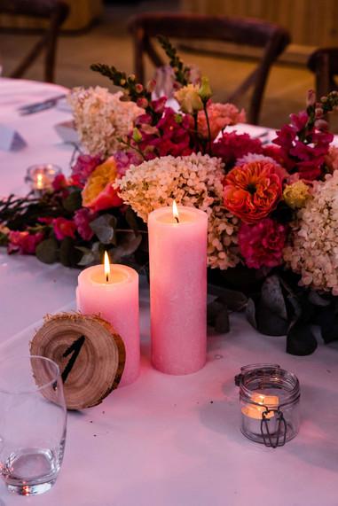 Rustieke roze kaarsen