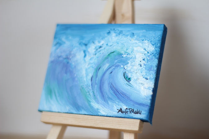 Mini oil painting of blue ocean wave by Aoife Blake