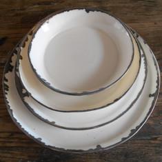 porselein servies met brons-rand