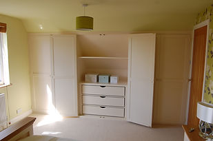 Painted Tulipwood and birch wardrobes