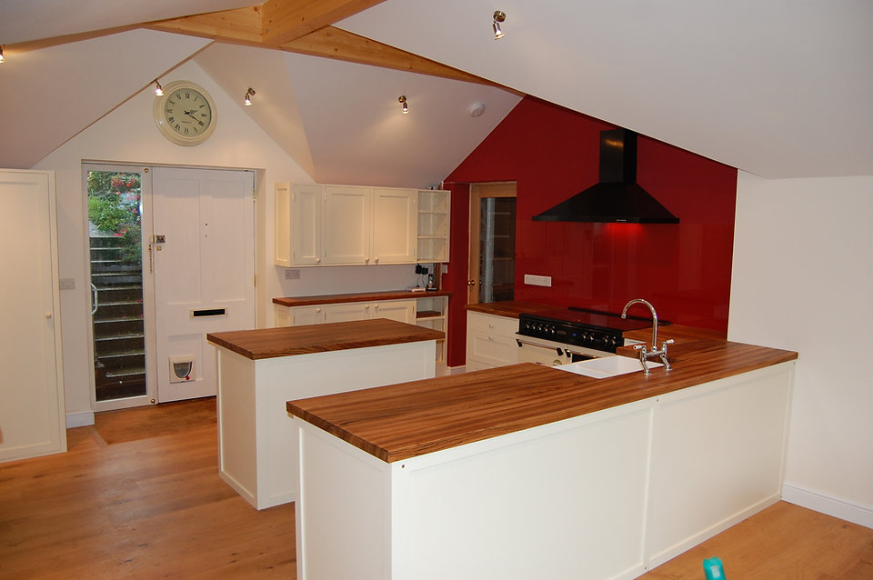 Kitchen area with Zebrano tops and paint