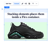 Image of a sneaker with paragraph text above it, both contained in a flex container. The unstack option is highlighted in the floating action bar.