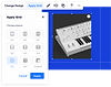 Image of a white synthesizer docked to a blue grid with the Apply Grid panel open with grid layout options and 2x2 selected