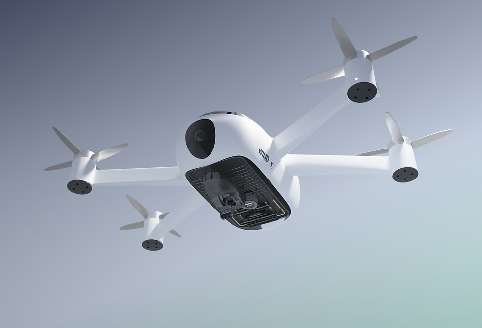 White drone seen from below on a gradient background with gentle shades of gray.