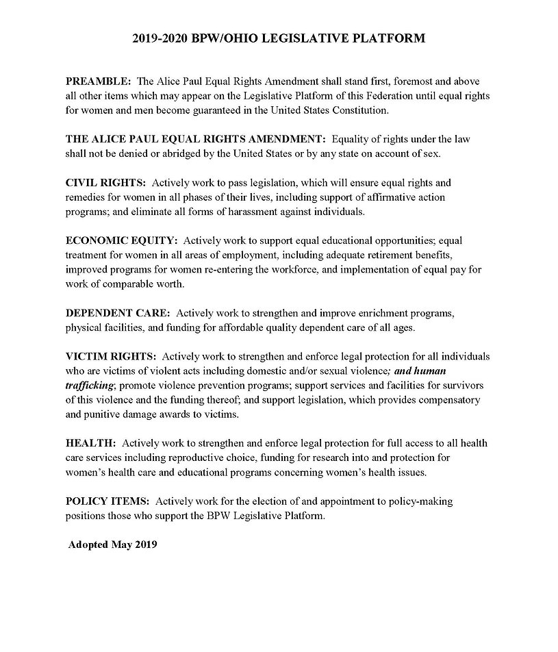 BPWOHIO Legislative Platform 2019 2020 (